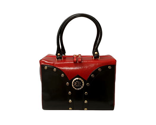 Shapes, Cerruti mid-shaped red and black leather tote bag