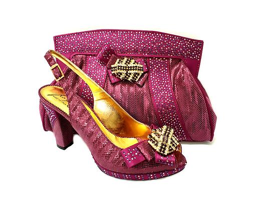Sharon, Salgati magenta mid-height platform shoes and bag set