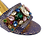 Thumbnail: Valerie, jewel embellished blue-gold low wedding sandals and matching bag