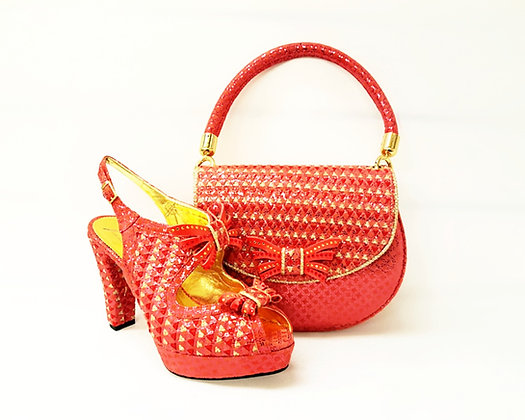 Salgati coral butterfly threaded high heel platform shoes and bag set