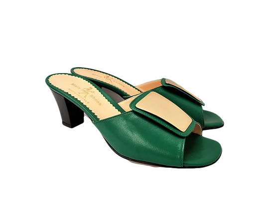 Leyla green mid-height leather sandals