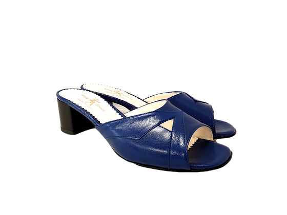 Barbara, blue mid block heel sandals