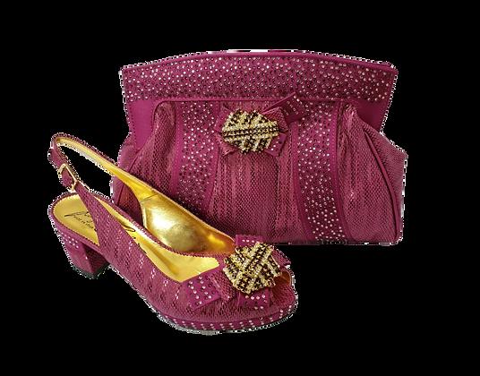Sharon, Salgati magenta low heel wedding shoes and matching bag set