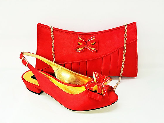 Arlene, Mary Shoes red very low heel shoes and matching bag set