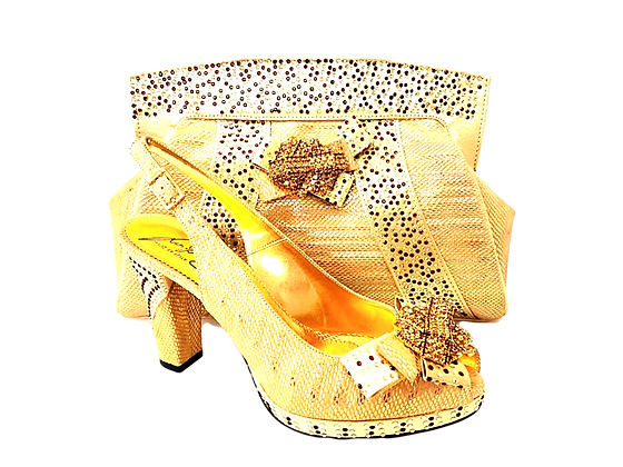 Sharon, Salgati gold mid-height platform shoes and bag set