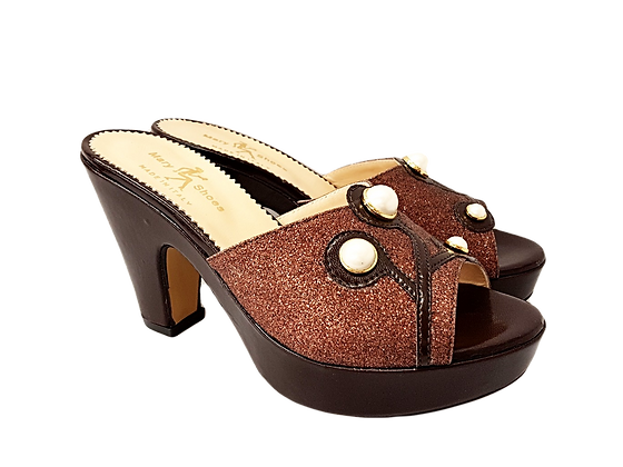 Brown Mary Shoes pearl platform sandals