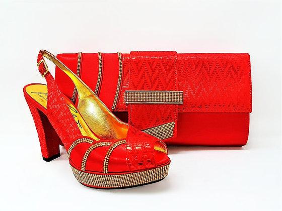 Salgati red high heel platform stone embellished wedding set