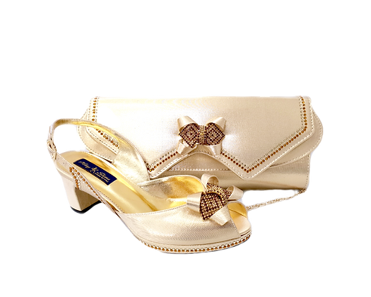 Elaine, Mary Shoes gold low heel wedding shoes and matching bag set