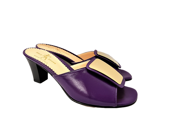 Leyla purple mid-height leather sandals