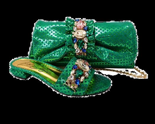 Valerie, jewel embellished green low wedding sandals and matching bag