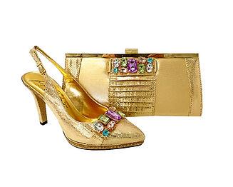 Sophia, Salgati gold wedding shoes and matching bag @maryshoeslondon