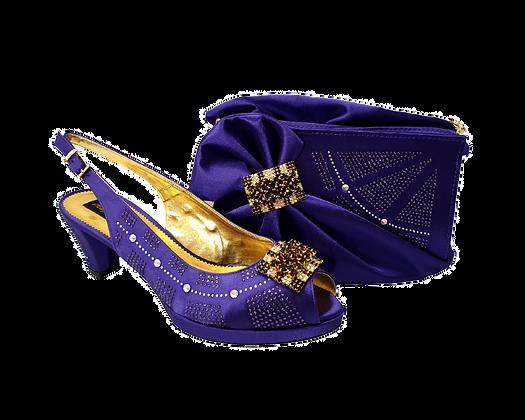 Emma, MaryShoes purple low heel wedding shoes and matching bag set