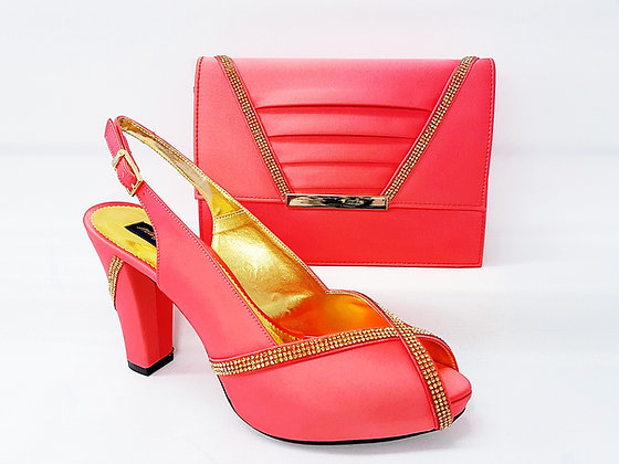 Lucia, coral Mary Shoes mid-height platform shoes and matching bag set