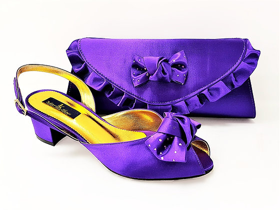 Verona, Mary Shoes purple low chunky heel wedding set
