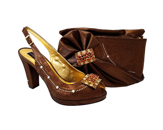 Emma, MaryShoes brown mid-height wedding shoes and matching bag set