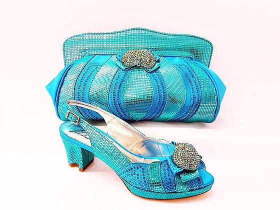 Florence, Salgati turquoise low heel platform wedding shoes and bag set