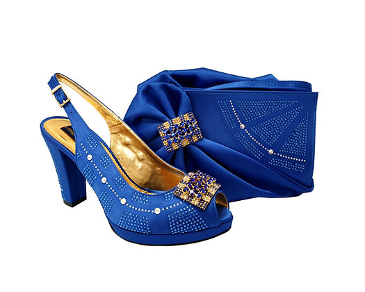 Emma, MaryShoes royal blue mid-height wedding shoes and matching bag set