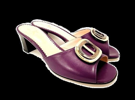 Olivia, purple mid block heel sandals