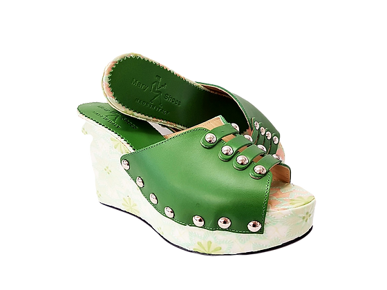 Blossom, Mary Shoes green floral wedge
