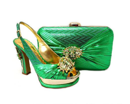 Vogue, Salgati green wedding party shoes and bag set