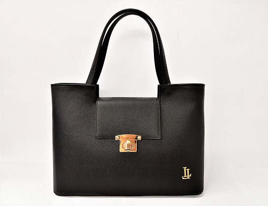 Black Classic Italian-crafted Leather Handbag, Lavinia