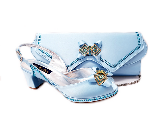 Elaine, Mary Shoes sky-blue low heel wedding shoes and matching bag set