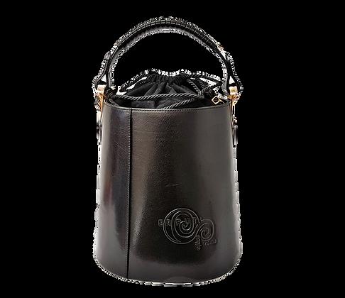 Cerruti black Leather Bucket Handbag