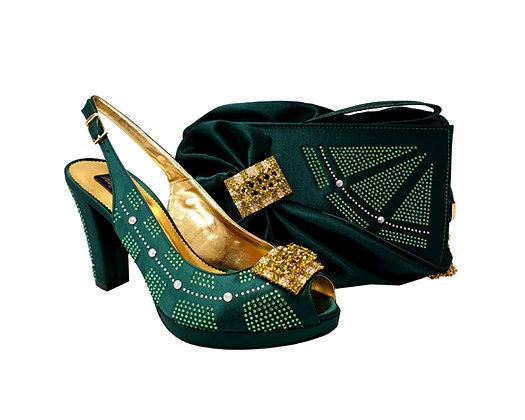 Emma, MaryShoes emerald mid-height wedding shoes and matching bag set