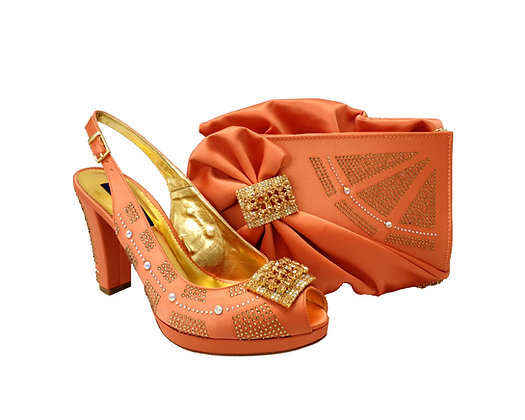 Emma, MaryShoes peach mid-height wedding shoes and matching bag set