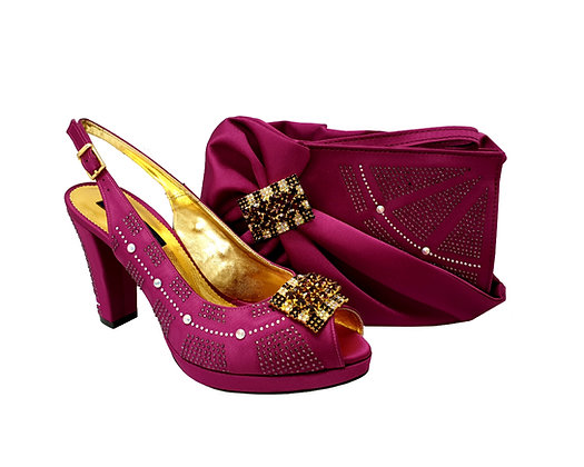 Emma, MaryShoes magenta mid-height wedding shoes and matching bag set