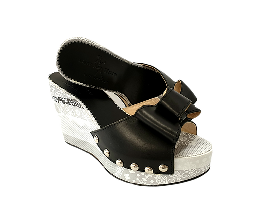 Beatrice, Mary Shoes black & white floral wedges