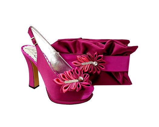 Ruby, Salgati magenta high heel occasion shoes and matching bag set