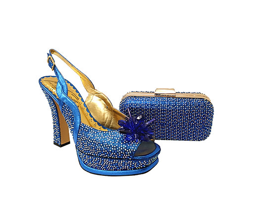 Salgati, Cinderella, blue-crystal shoes and matching bag set