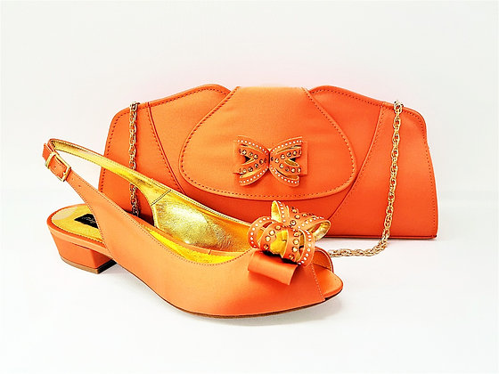 Arlene, Mary Shoes peach very low heel shoes and matching bag set