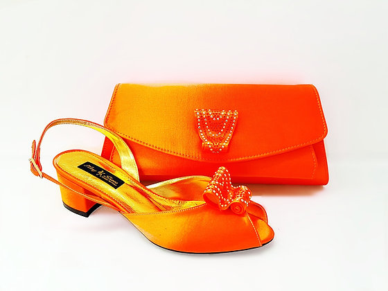 Poppy, orange Mary Shoes low chunky heel wedding shoes and bag set