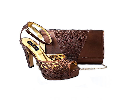 Alexa, Mary Shoes brown laser-cut high heel wedding shoes and matching bag set