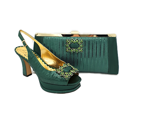 Venice, emerald mid-heel wedding shoes and matching bag