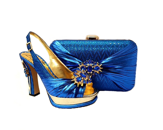 Vogue, Salgati blue wedding party shoes and bag set