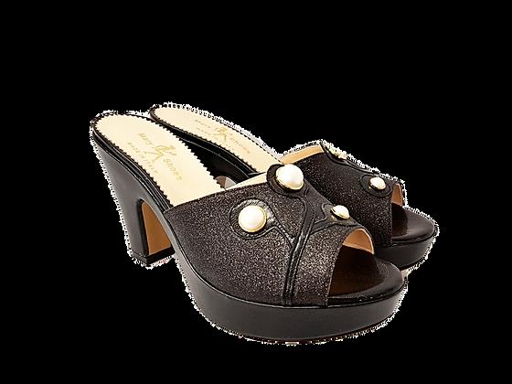 Black Mary Shoes pearl platform sandals