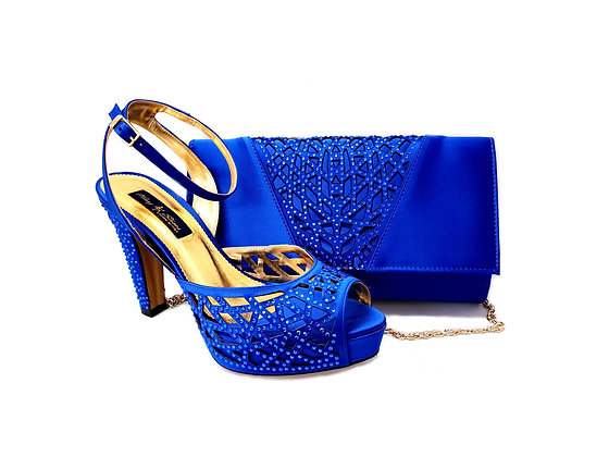 Alexa, Mary Shoes blue laser-cut high heel wedding shoes and matching bag set