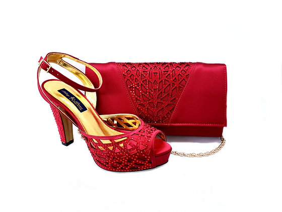 Alexa, Mary Shoes burgundy laser-cut high-heel wedding shoes and matching bag