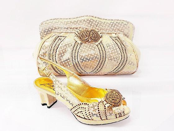 Florence, Salgati gold low heel platform wedding shoes and bag set