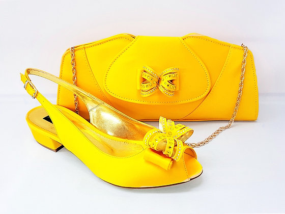 Arlene, Mary Shoes yellow very low heel shoes and matching bag set