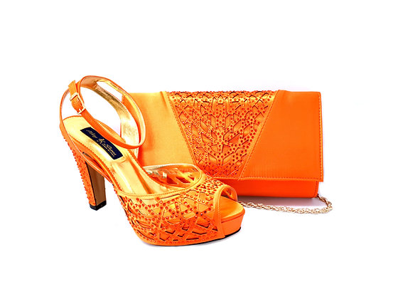 Alexa, Mary Shoes orange laser-cut high heel wedding shoes and matching bag set