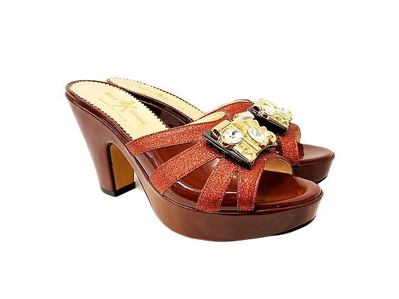 Brown Mary Shoes wet-look platform sandals
