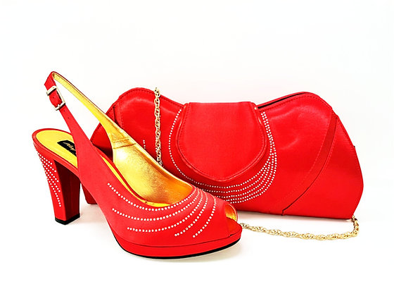 C-Wave, Mary Shoes red stone embellished mid-height wedding shoes and