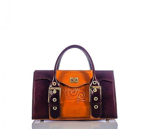 Mini, Cerruti camel and brown handbag