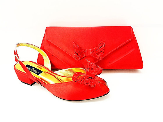 Stella, Mary Shoes red very low heel wedding shoes and bag set