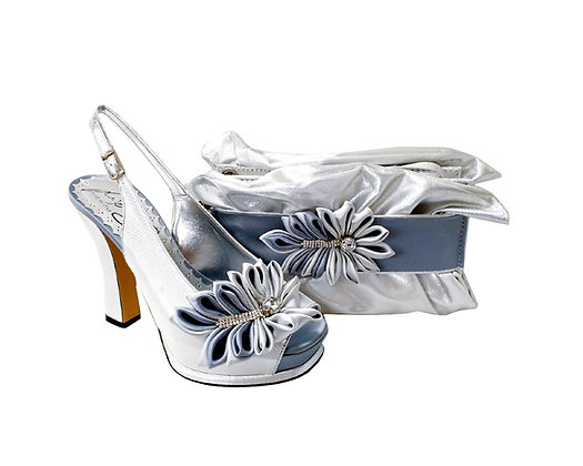 Ruby, Salgati silver-ash high heel occasion shoes and matching bag set