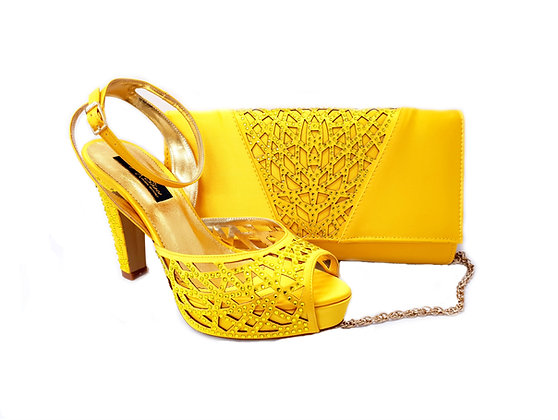Alexa, Mary Shoes yellow laser-cut high heel wedding shoes and matching bag set